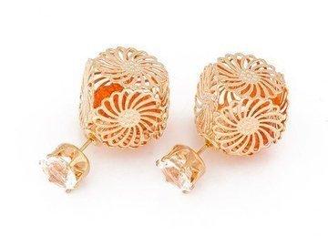 Kolczyki cube rosette orange
