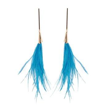 Kolczyki delikatne piórka niebieskie