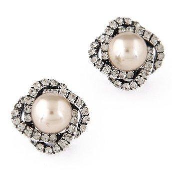 Kolczyki zircon pearl gold